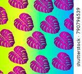 bright tropic pattern on neon... | Shutterstock .eps vector #790796539
