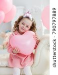 cute little girl with hearts... | Shutterstock . vector #790797889