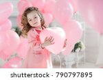 cute little girl with hearts... | Shutterstock . vector #790797895