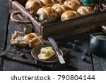 hot cross buns in wooden tray...   Shutterstock . vector #790804144