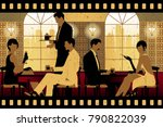 the party at the bar in the...   Shutterstock .eps vector #790822039
