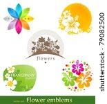 Vector Set   Flower Emblems An...