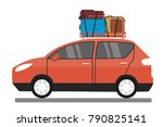 modern red car with luggage on...   Shutterstock .eps vector #790825141