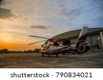 silhouette of helicopter in the ... | Shutterstock . vector #790834021
