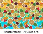 tropical summer fruits vector... | Shutterstock .eps vector #790835575