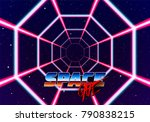 neon tunnel in space with 80s... | Shutterstock .eps vector #790838215