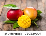 fresh mango fruit on the wooden ... | Shutterstock . vector #790839004