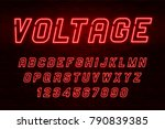 voltage neon light alphabet ... | Shutterstock .eps vector #790839385