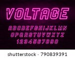 voltage neon light alphabet ... | Shutterstock .eps vector #790839391