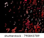pink flying musical notes... | Shutterstock .eps vector #790843789