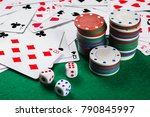 poker cards  chips  dice on the ... | Shutterstock . vector #790845997