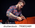 tailor produces cutting brown... | Shutterstock . vector #790852489