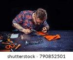 leather craftsman demostrating... | Shutterstock . vector #790852501