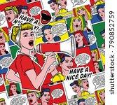 pop art background. blonde girl ... | Shutterstock . vector #790852759