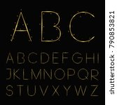 golden  shiny and sparkle font. ... | Shutterstock .eps vector #790853821
