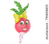 cartoon radish character. beet. ... | Shutterstock .eps vector #790858855