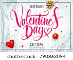 valentine's day background with ... | Shutterstock .eps vector #790863094