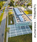Small photo of KAUNAS, LITHUANIA - AUGUST 15, 2017: Drone aerial view of Kaunas University of Technology. KTU is one the largest technological universities in the Baltics.