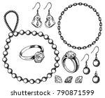 bijouterie set vector ink hand... | Shutterstock .eps vector #790871599