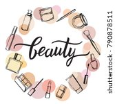 beauty cosmetics set. make up... | Shutterstock .eps vector #790878511
