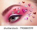 eye make up girl with a heart.... | Shutterstock . vector #790880599