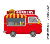 burgers street food caravan... | Shutterstock .eps vector #790880824