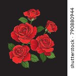 a bouquet of hand drawn red... | Shutterstock .eps vector #790880944