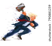 donald trump rushes forward ... | Shutterstock .eps vector #790881259