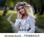 young woman portrait outdoor in ... | Shutterstock . vector #790884415