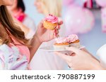 expecting mother eating pink... | Shutterstock . vector #790887199