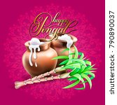 happy pongal greeting card to... | Shutterstock .eps vector #790890037