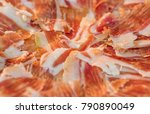 dry cured spanish pork ham in a ... | Shutterstock . vector #790890049