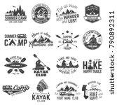 set of canoe  kayak  hiking and ... | Shutterstock .eps vector #790892311