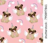 Unicorn Pug Seamless Pattern...