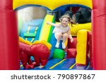 child jumping on colorful... | Shutterstock . vector #790897867