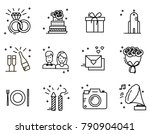 wedding timeline line icons set.... | Shutterstock .eps vector #790904041