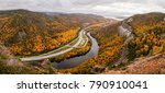 Small photo of Autumn leave colors in Corner Brook, East Canada. Looking down from Captain James Cook Lookout.
