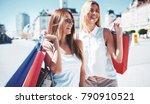 women in shopping. two happy... | Shutterstock . vector #790910521