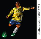 soccer player kicking the ball... | Shutterstock .eps vector #790911211