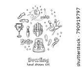 Hand Drawn Doodle Bowling Set....