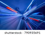 view from side of car moving in ... | Shutterstock . vector #790935691