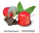 red coffee capsules with coffee ... | Shutterstock . vector #790940365