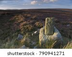 Small photo of Roppa Cross North on Helsmley Moor at sunset in August, in the North York Moors National Park, Yorkshire, UK