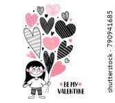 girl with heart balloons.... | Shutterstock .eps vector #790941685