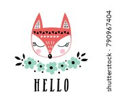 vector card with cute fox.... | Shutterstock .eps vector #790967404
