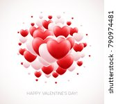 red hearts background with... | Shutterstock .eps vector #790974481