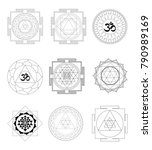 sacred indian geometry mystical ... | Shutterstock .eps vector #790989169
