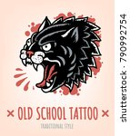 wild cat old school tattoo... | Shutterstock .eps vector #790992754
