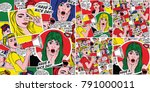 pop art backgrounds set. retro... | Shutterstock . vector #791000011