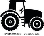 black farmer tractor drawn  | Shutterstock .eps vector #791000131